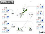 2020年02月17日の沖縄県の実況天気
