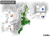 2020年02月18日の三重県の実況天気