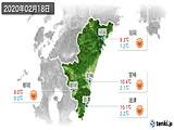 2020年02月18日の宮崎県の実況天気