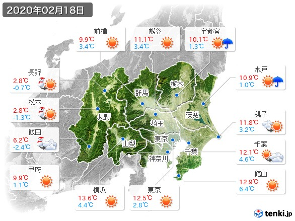 関東・甲信地方(2020年02月18日の天気