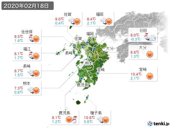 九州地方(2020年02月18日の天気