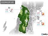 2020年02月19日の山形県の実況天気