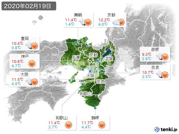 近畿地方(2020年02月19日の天気
