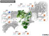2020年02月20日の近畿地方の実況天気