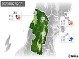 2020年02月20日の山形県の実況天気