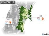 2020年02月21日の宮城県の実況天気