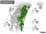 2020年02月22日の宮崎県の実況天気