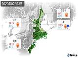 2020年02月23日の三重県の実況天気