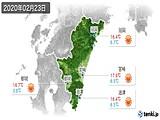 2020年02月23日の宮崎県の実況天気