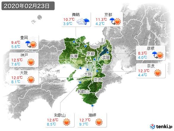 近畿地方(2020年02月23日の天気