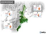 2020年02月24日の三重県の実況天気