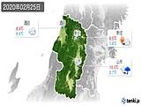 2020年02月25日の山形県の実況天気