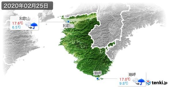和歌山県(2020年02月25日の天気