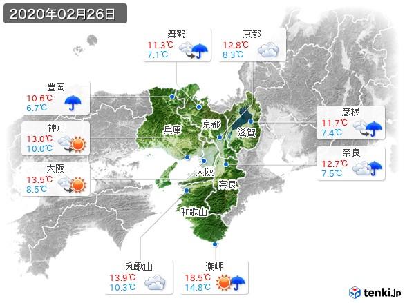 近畿地方(2020年02月26日の天気