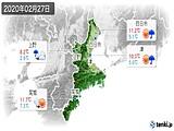2020年02月27日の三重県の実況天気