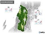 2020年02月28日の山形県の実況天気