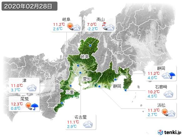 東海地方(2020年02月28日の天気