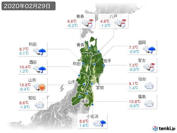 東北地方(2020年02月29日の天気