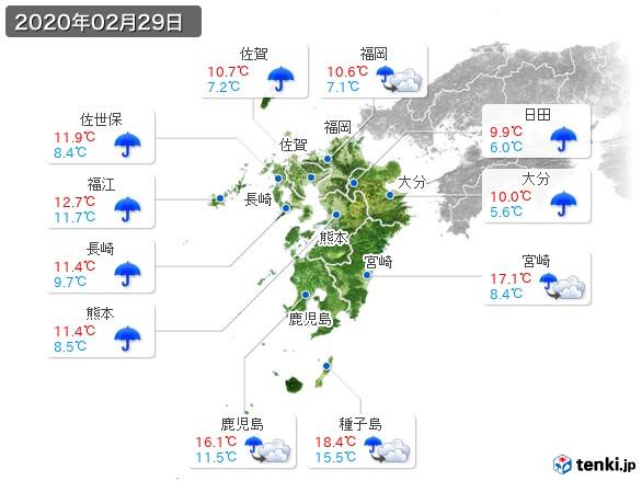 九州地方(2020年02月29日の天気