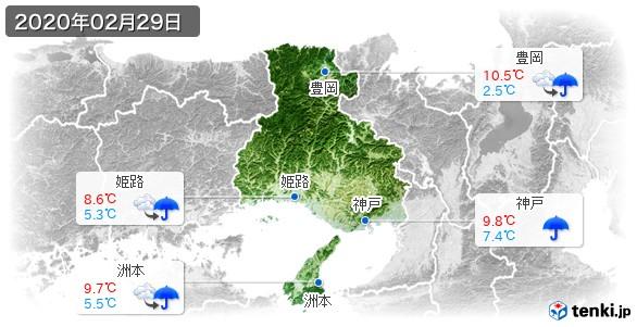 兵庫県(2020年02月29日の天気