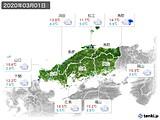 2020年03月01日の中国地方の実況天気