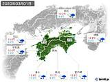 2020年03月01日の四国地方の実況天気