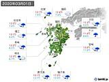 2020年03月01日の九州地方の実況天気