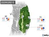 2020年03月01日の岩手県の実況天気