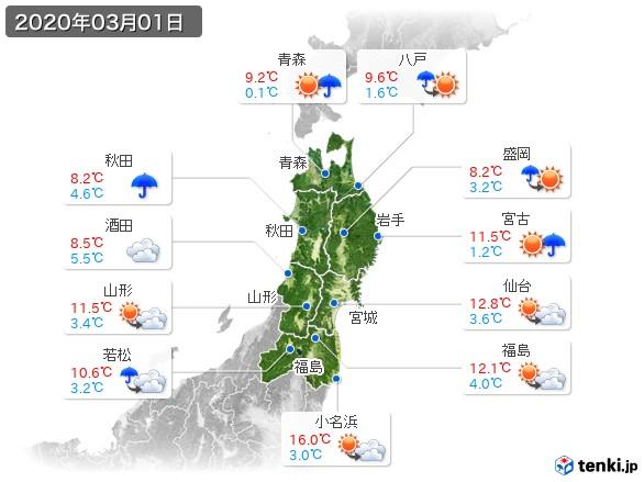 東北地方(2020年03月01日の天気