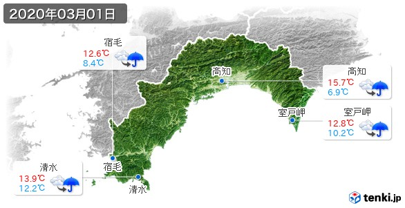 高知県(2020年03月01日の天気