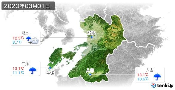 熊本県(2020年03月01日の天気