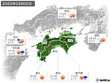 2020年03月02日の四国地方の実況天気