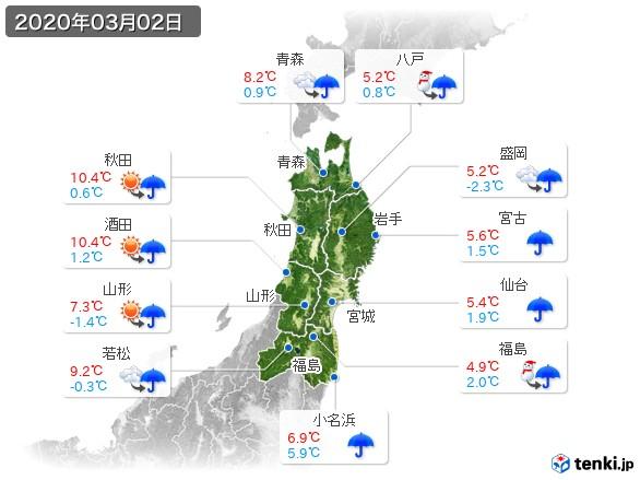 東北地方(2020年03月02日の天気