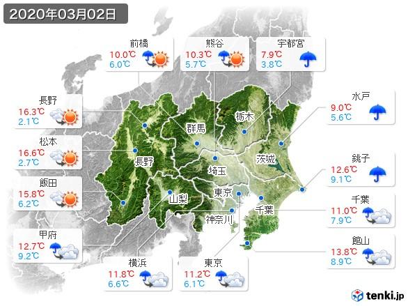 関東・甲信地方(2020年03月02日の天気