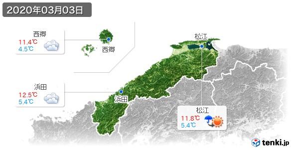 島根県(2020年03月03日の天気