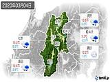 2020年03月04日の長野県の実況天気