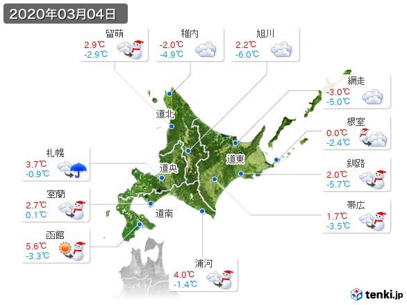 北海道地方(2020年03月04日の天気