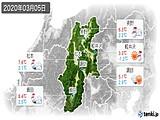 2020年03月05日の長野県の実況天気
