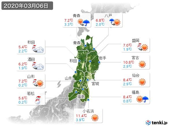 東北地方(2020年03月06日の天気