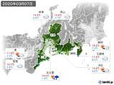 2020年03月07日の東海地方の実況天気