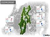 2020年03月08日の長野県の実況天気