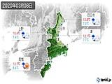 2020年03月08日の三重県の実況天気