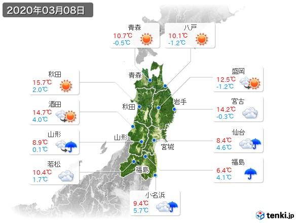 東北地方(2020年03月08日の天気