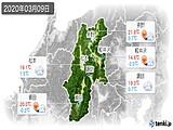 2020年03月09日の長野県の実況天気