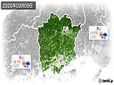 2020年03月09日の岡山県の実況天気