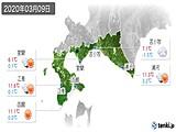 2020年03月09日の道南の実況天気