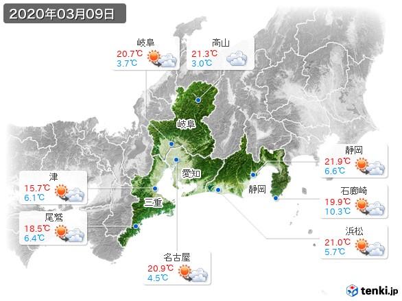 東海地方(2020年03月09日の天気
