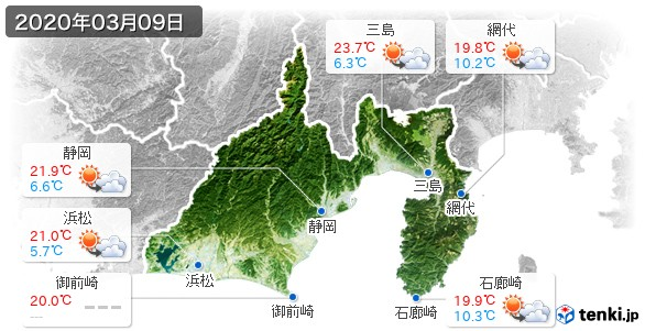静岡県(2020年03月09日の天気