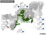 2020年03月10日の東海地方の実況天気