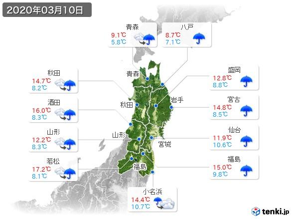 東北地方(2020年03月10日の天気